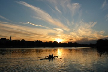 Rowing on the Charles River, Cambridge, MA