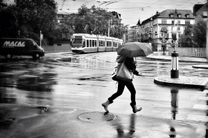 Running in the rain in Zurich, Switzerland