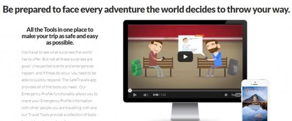 SafeTravels Travel App (homepage screenshot)