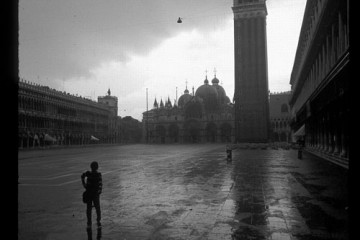 Sole traveler in San Marco during deluge