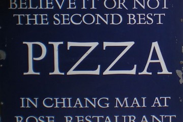 Sign: Second Best Pizza in Chiang Mai, China