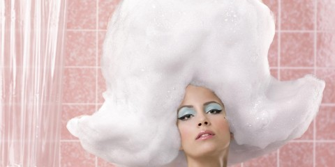 Woman with lots of shampoo
