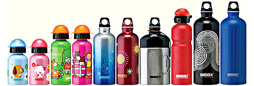 Lineup of Sigg Water Bottles
