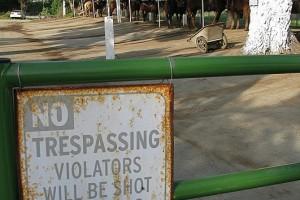 Sign: No Trespassing at Seahorse Ranch