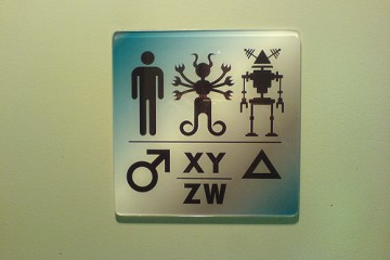Sign on Restroom Door - Science Fiction Museum, Seattle