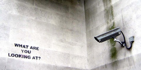 "Bansky graffiti in London: ""What are you looking at?"""