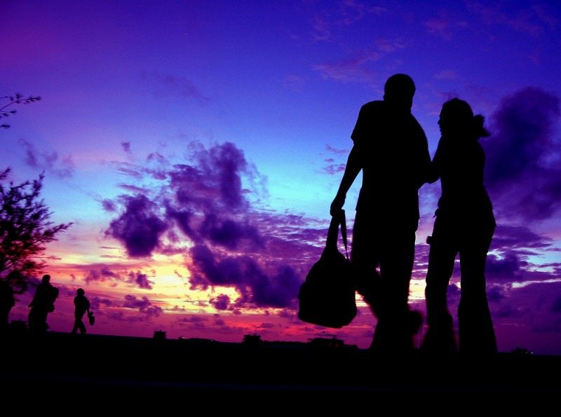 Silhouette of Couple Walking, Maldives