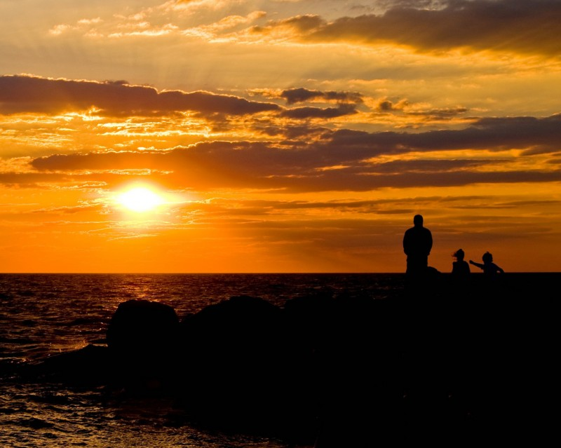 Silhouettes at sunset, Cape May, New Jersey