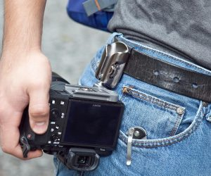 Spider's SpiderLight Backpacker Kit Camera Holster (closeup on belt)