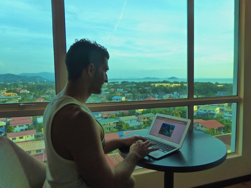 Stefan Working on the Blog in Kinabalu, Malaysia, Borneo
