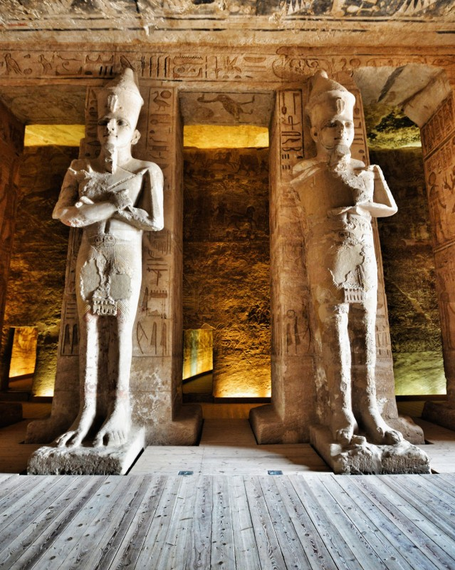 Stone statues of Rameses II inside Abu Simbel