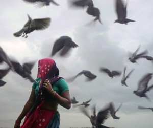 Woman beneath a large flock of birds in Dwarka, India