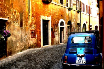 Blue Car on Street, Rome, Italy