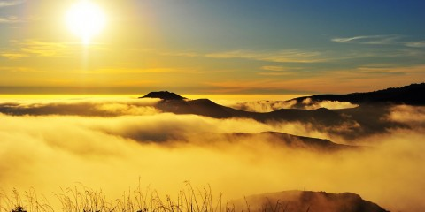 Sun, Hills & Fog at Marin Headlands, California