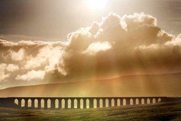 Sunshine through the clouds in North Yorkshire on the famous Leeds-Settle-Carlisle railway