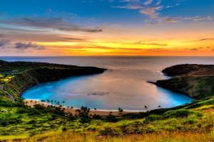 Sunrise before the rain storm at Hanauma Bay, Oahu, Hawaii