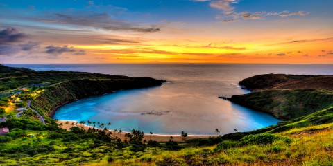 Sunrise before the rain storm at Hanauma Bay, Oahu, Hawaii