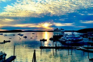 Sunrise from the Harborside Hotel, Bar Harbor, Maine