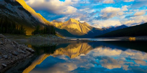 Sunrise on Medicine Lake, Jasper National Park, Canada