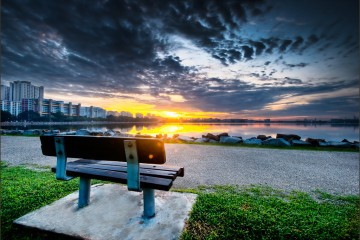 Sunrise Over Pandan Reservoir, Singapore
