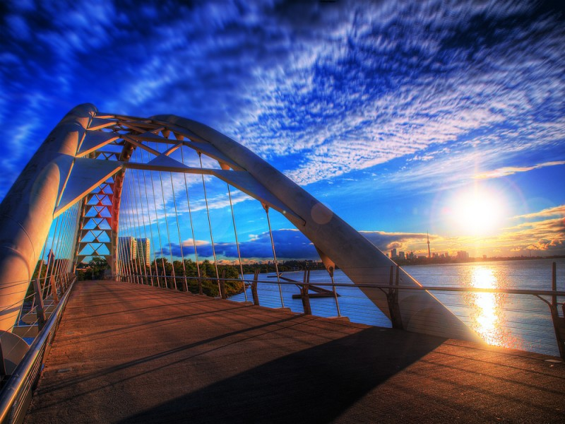 Sunrise Over Humber Bay Arch Bridge Toronto, Canada