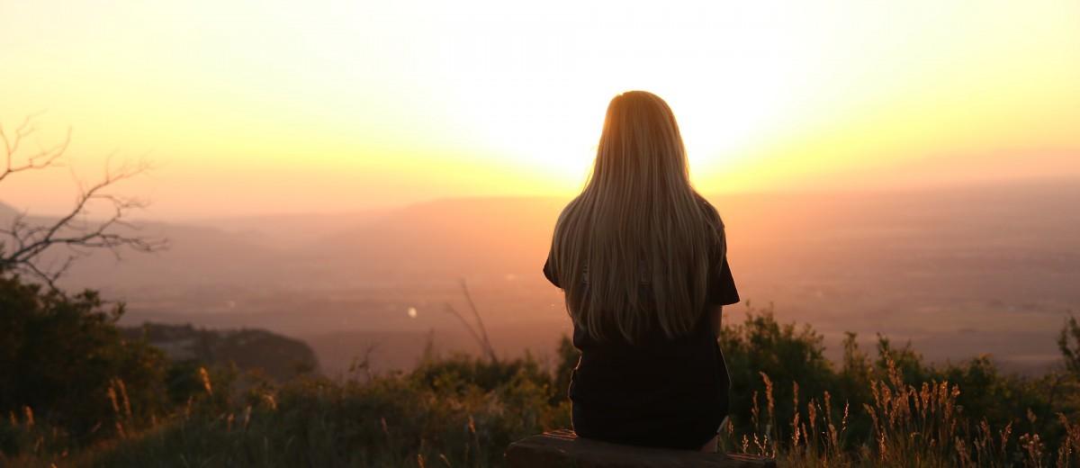 Girl Dreaming at Sunset