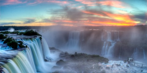 Sunset Over Iguazu Falls, Brazil