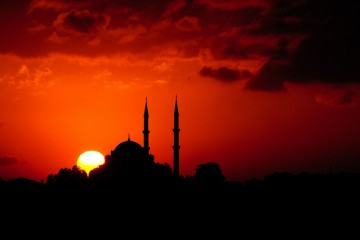 Sunset behind mosque in Istanbul, Turkey
