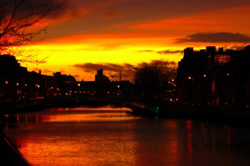 Sunset Over the River Liffey, Dublin, Ireland
