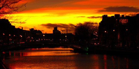 Sunset Over the River Liffey, Dublin, Ireland