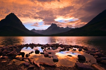 Sunset on Swiftcurrent Lake in Glacier National Park, Montana