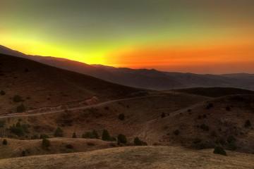 Sunset Behind Tian Shan Mountains, Kyrgyzstan