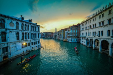 Venice, Italy - dusk shot from the side of Ponte Rialto