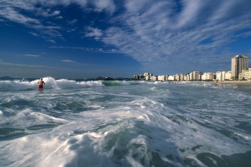Surfing Copacabana Beach, Rio de Janeiro, Brazil