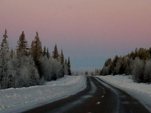 Swedish Road in Winter