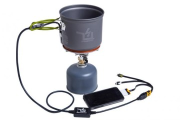The PowerPot V thermoelectric generator charging an iPhone