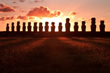 Tongariki Sunrise Visitors, Easter Island