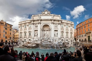 Tourists at Trevi Fountain, Rome, Italy