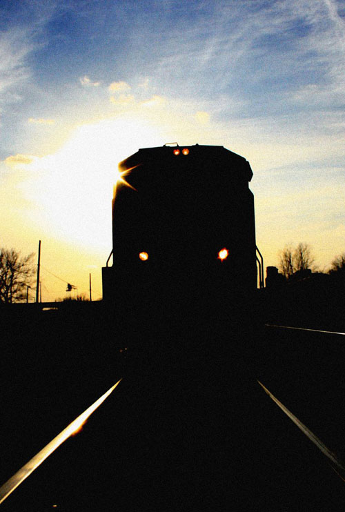 Silhouette of a train in Birmingham, Alabama