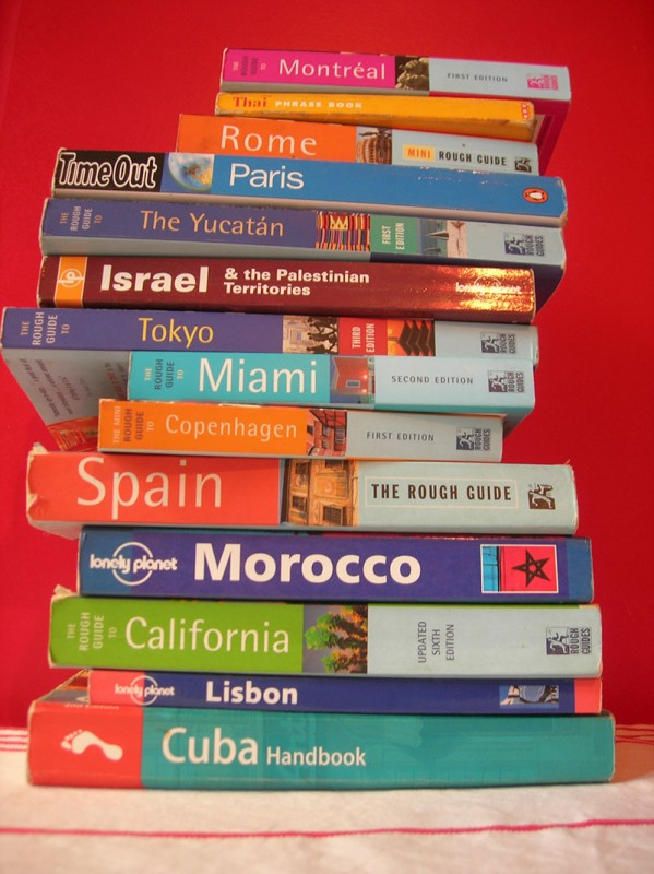 Stack of Travel Guidebooks