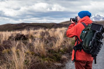 Hiker with Travel Photography Accessories