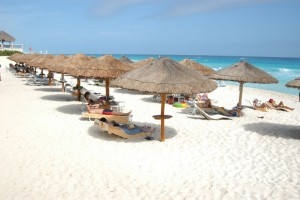 Relaxing on Vacation at the Beach in Cancun, Mexico