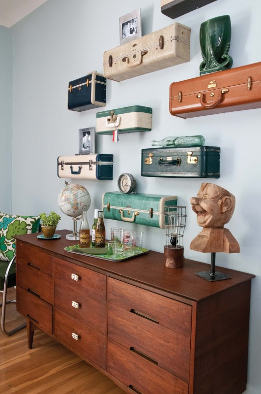travel suitcase wall shelves