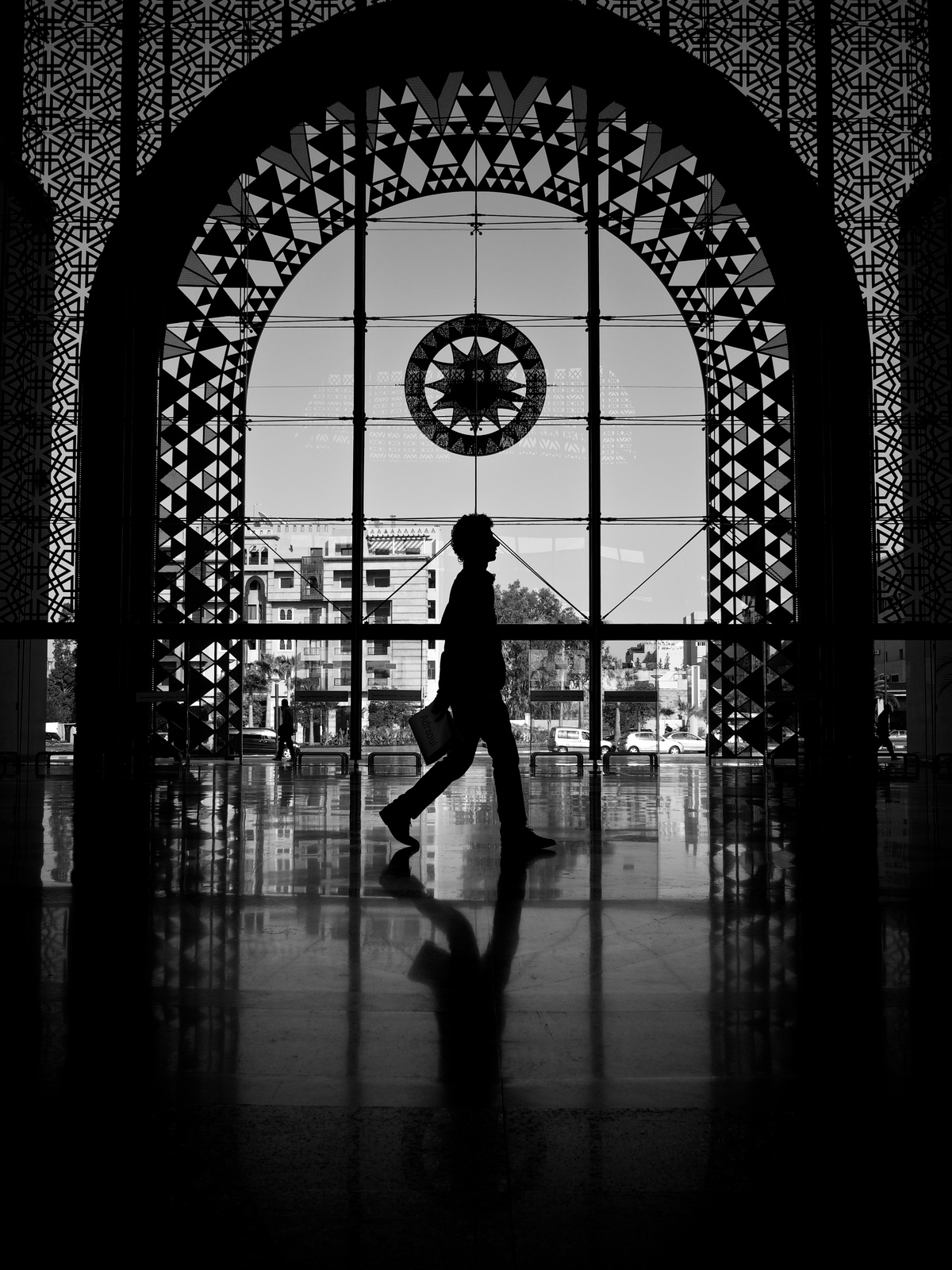 Traveler's Silhouette in the Marrakech Railway Station