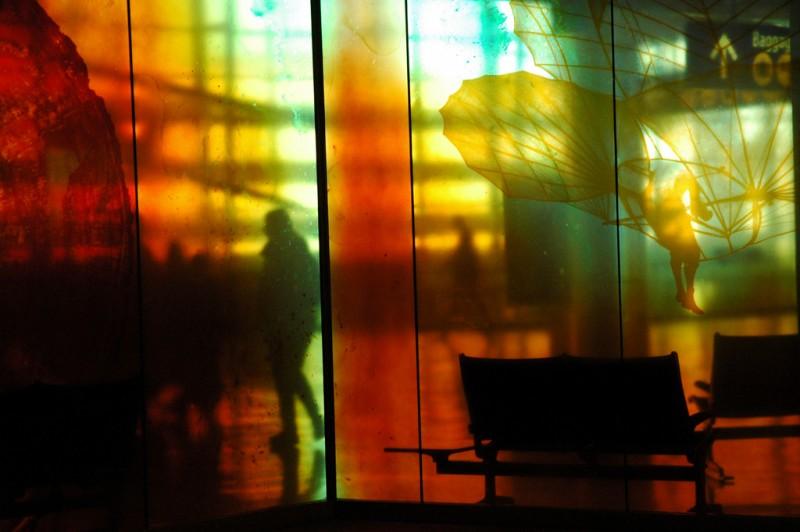 Travelers at Seattle Airport, Washington