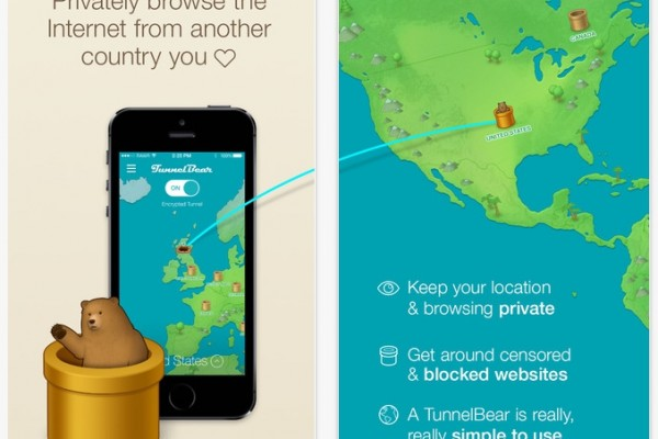 TunnelBear VPN software for iPhone/iOS (screenshot)