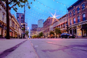 Twilight in Larimer Square in Denver, Colorado