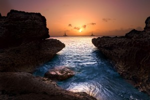 Two Ships Passing in the Sunset, Aruba