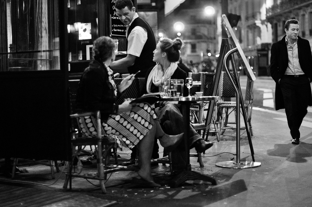Two women at table in Paris, France