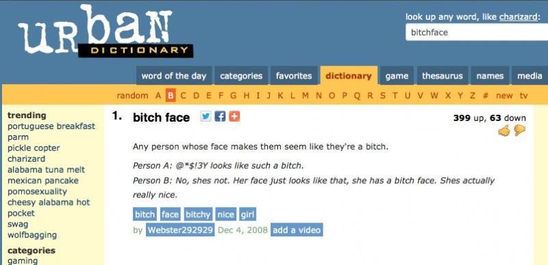 "Definition of ""Bitch face"" (via Urban Dictionary)"
